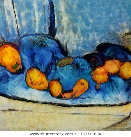 Natürmort turuncu meyve meyve suyu ahşap masa boyama stil Stok fotoğraf © dariazu