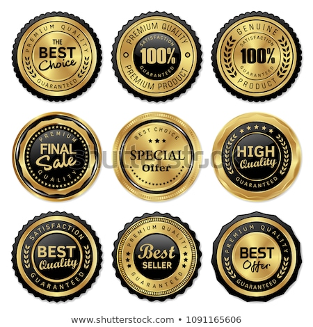 genuine quality product premium golden label badge design  Stock photo © SArts