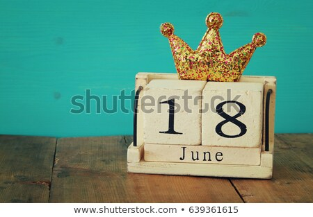 Calender date by gifts for fathers day on wooden table Stock photo © wavebreak_media