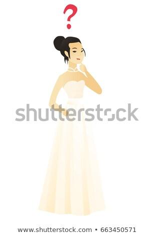 Jonge asian verloofde vraagteken nadenkend boven Stockfoto © RAStudio