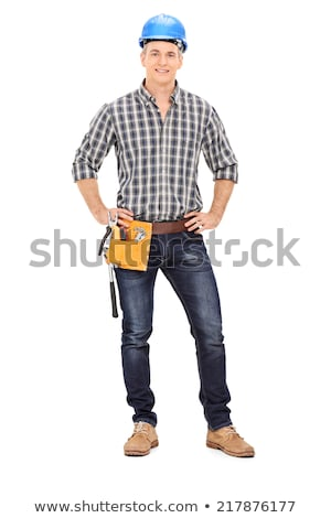handyman · retrato · jovem · manual · trabalhador · polegar - foto stock © deandrobot