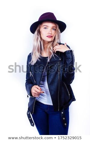 gülen · genç · kız · yaz · şapka · zaman - stok fotoğraf © iordani