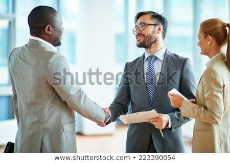 üzlet · kép · sikeres · partnerek · modern · épület · épület - stock fotó © pressmaster