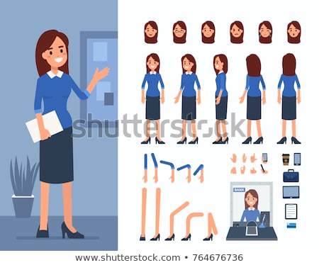Office Worker Vector. Face Emotions, Various Gestures. Creation Set. Corporate Businessman Male. Suc Stock photo © pikepicture