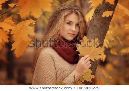 Fiatal lány áll narancsfa lány gyermek női Stock fotó © IS2