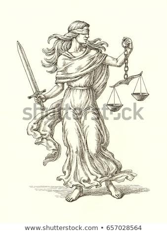 Allegória igazság szimbólumok törvény fa kalapács Stock fotó © Epitavi