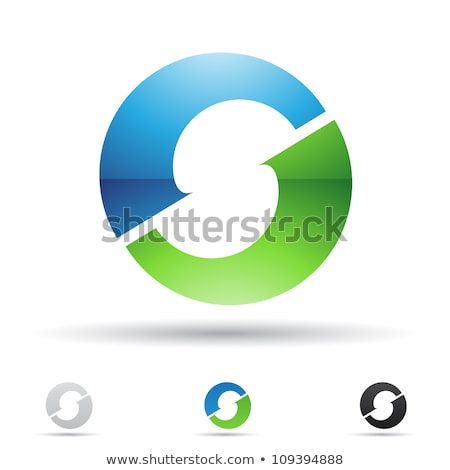 Striped Blue Icon for Letter O Vector Illustration Stock photo © cidepix