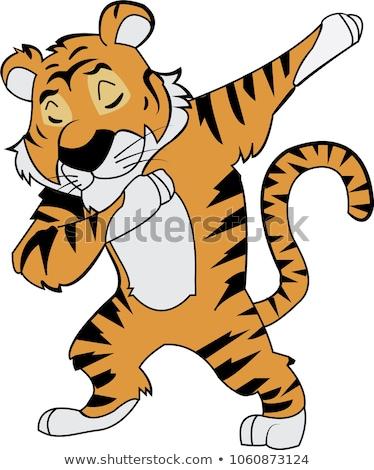 Desenho animado tigre dança feliz sorridente Foto stock © cthoman