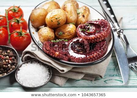 peces · filete · típico · patatas · sal · canarias - foto stock © karandaev