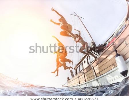 aile · tekne · göl · kız · çocuklar · çocuklar - stok fotoğraf © galitskaya