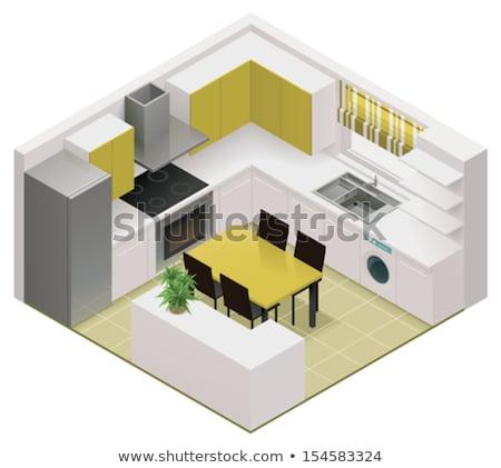 Vector isometric kitchen interior Stock photo © tele52