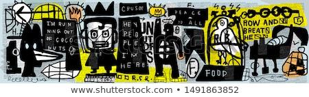 színes · graffiti · rajz · illusztráció · rajzolt · mosoly - stock fotó © Blue_daemon
