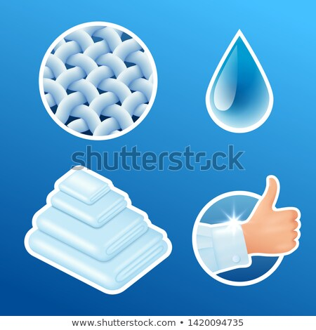 washing clothes stickers set clean laundry fibers water drop thumbs up icons isolated vector il stock photo © marysan