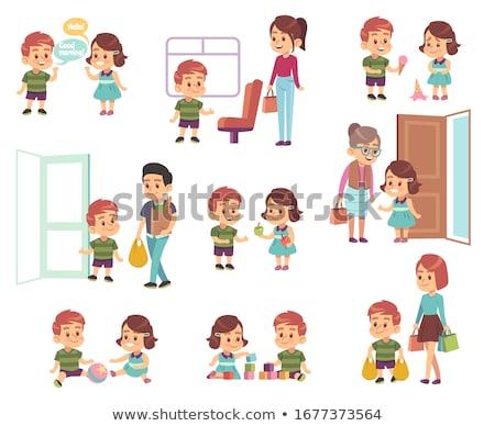 Kid Boy Teacher Behave Bad Illustration Stock photo © lenm