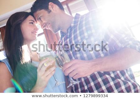 Alulról fotózva kilátás pár fehérbor étterem nő Stock fotó © wavebreak_media