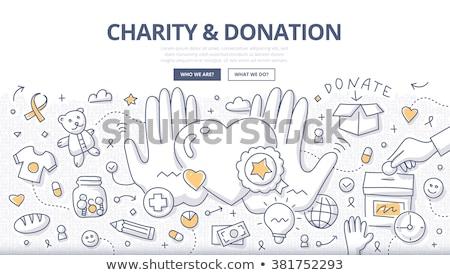 пожертвование благотворительность продовольствие интернет мужчин Kid Сток-фото © artisticco