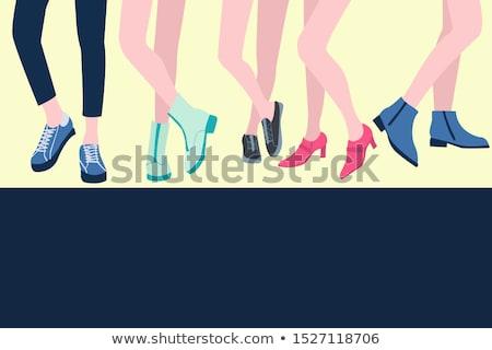 Establecer cinco femenino piernas zapatos elegante Foto stock © Margolana