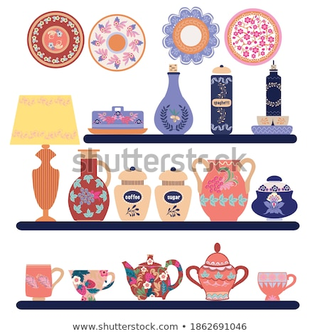 hand drawn collection handmade ceramics tableware on shelves. Stock photo © Margolana