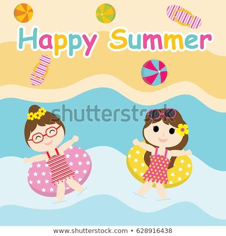 Deux filles jouer balle plage vacances d'été Photo stock © balasoiu