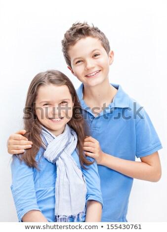 портрет брат сестра оба синий Сток-фото © Lopolo