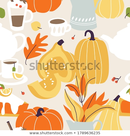 Thanksgiving autumn symbols, food and drinks seamless pattern. Stock photo © balabolka