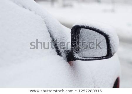 Coche espejo cubierto nieve nevadas ciudad Foto stock © AndreyPopov