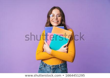 Foto sedutor bela mulher posando roxo Foto stock © deandrobot