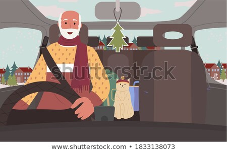 Traveling by Car in Winter Passing Old Town Street Stock photo © robuart