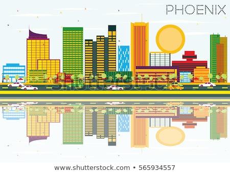 Schets phoenix skyline Blauw gebouwen Stockfoto © ShustrikS