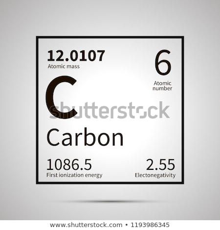 Carbon chemical element with first ionization energy, atomic mass and electronegativity values ,simp Stock photo © evgeny89