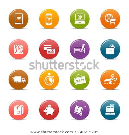 Piggy bank laptop caixa registradora mercado compras on-line dinheiro Foto stock © yupiramos