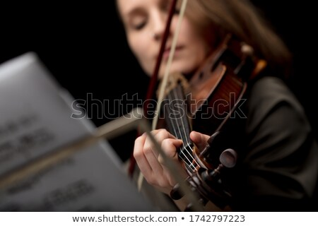 Donna giocare classica violino naso vivere Foto d'archivio © Giulio_Fornasar