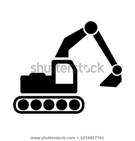 mechanical digger or excavator icon black and white Stock photo © patrimonio