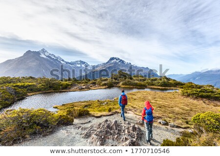 Young hiking couple walking at Routeburn Track during sunny day. Hikers are carrying backpacks while Stock photo © Maridav