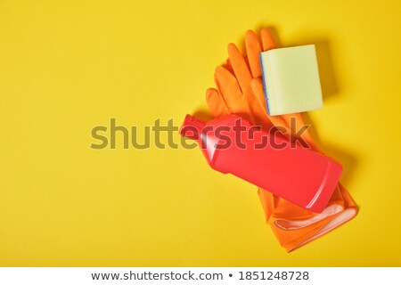 Stock photo: protective glove and sponge