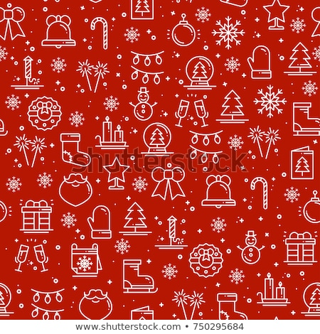 repeating christmas texture with trees stars and candy canes clipping mask used stock photo © losswen