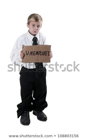 little boy holding an unemployment sign stock photo © piedmontphoto