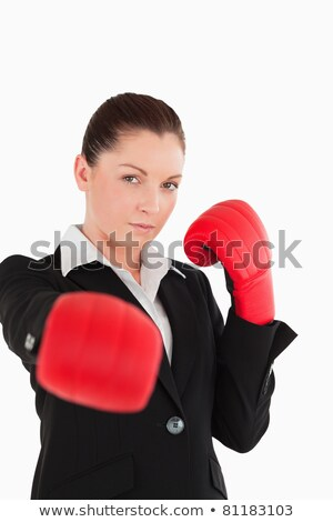 серьезный · деловая · женщина · красный · боксерские · перчатки · белый - Сток-фото © wavebreak_media