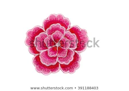 Rood · witte · bloemen · witte · bloemen · zijde · weefsel - stockfoto © yul30