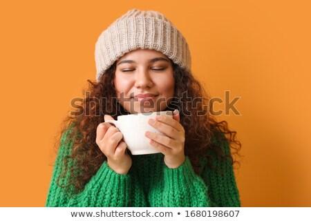 Portre güzel kız içme sıcak içecek kız çay Stok fotoğraf © stokkete