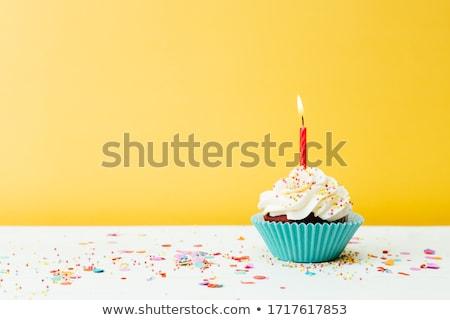 Birthday cupcake Stock photo © balasoiu
