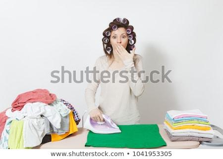Ev kadını portre kadın seksi saç ağız Stok fotoğraf © dukibu