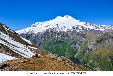 kafkaslar · dağlar · kar · buz · iz · üst - stok fotoğraf © blasbike
