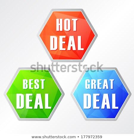 Caliente acuerdo tres colores iconos de la web diseno Foto stock © marinini