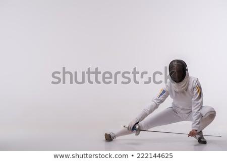 kép · fiatal · nő · sportruha · tart · súlyzók · izolált - stock fotó © bmonteny