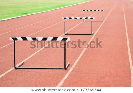 Futópad akadályok sport háttér sportok mező Stock fotó © OleksandrO