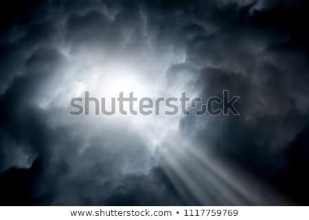 Mooie Blauw stormachtig hemel zon stralen Stockfoto © maxpro
