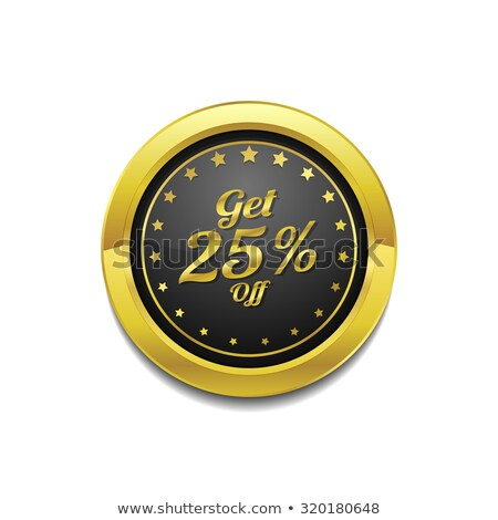 Get 25 Percent Golden Vector Icon Button Stock photo © rizwanali3d