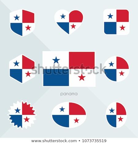 Przycisk symbol Panama banderą Pokaż biały Zdjęcia stock © mayboro1964