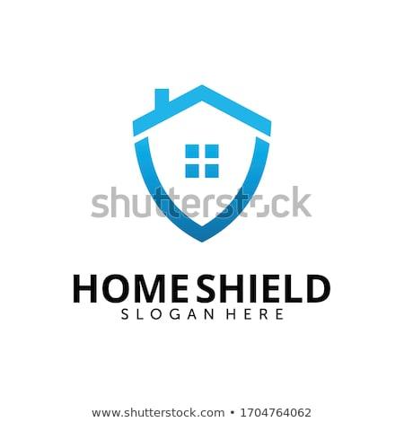 Huis beveiligde logo vector logo-ontwerp gebouw Stockfoto © Anna_leni